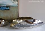 Dekorativní košík stříbro zlatý 39x22cm