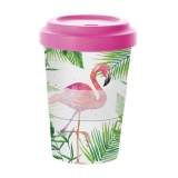Pohár se silikonovým víčkem Flamingo