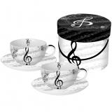 Sada šálků cappuccino I love music