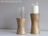 Svícen sklo-dřevo 35cm