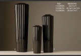 Váza úzká žebrovaná černá M