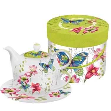 Čajová sada modrý motýl