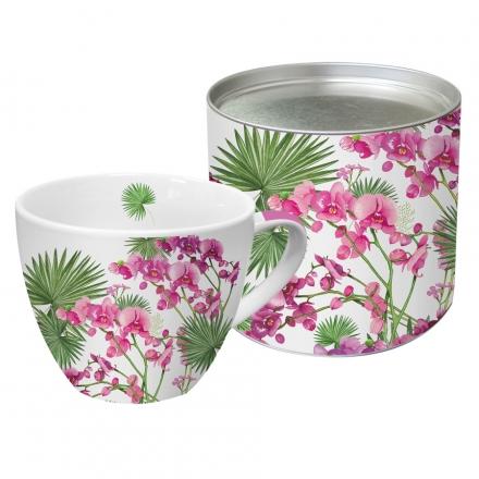 Hrnek v plechovce Orchids a palms