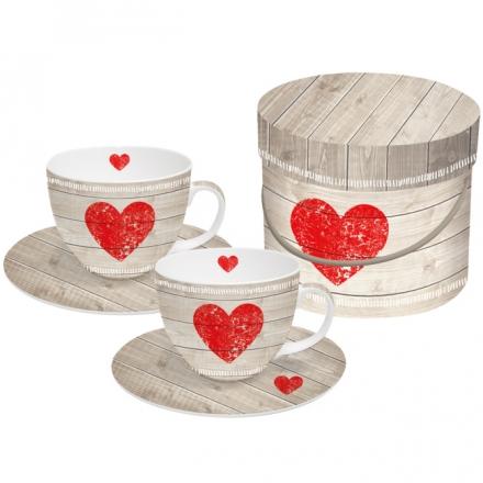 Sada šálků cappuccino Heart of Wood