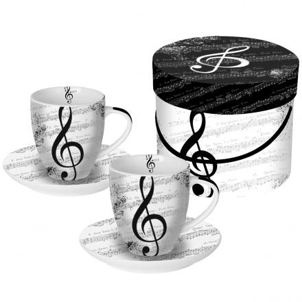 Sada šálků espresso  I love music