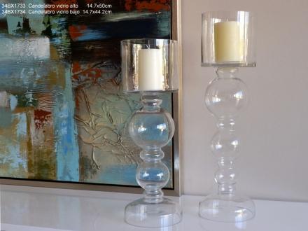 Svícen skleněný 44cm